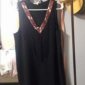 Women's Black Fringe Dress